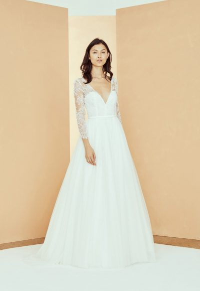 3/4 Sleeve V-neckline A-line Wedding Dress With Lace Bodice And Tulle Skirt by Nouvelle Amsale