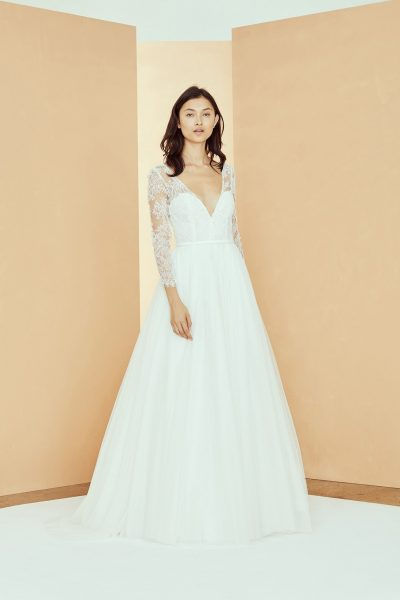 3/4 Sleeve V-neckline A-line Wedding Dress With Lace Bodice And Tulle Skirt by Nouvelle Amsale - Image 1