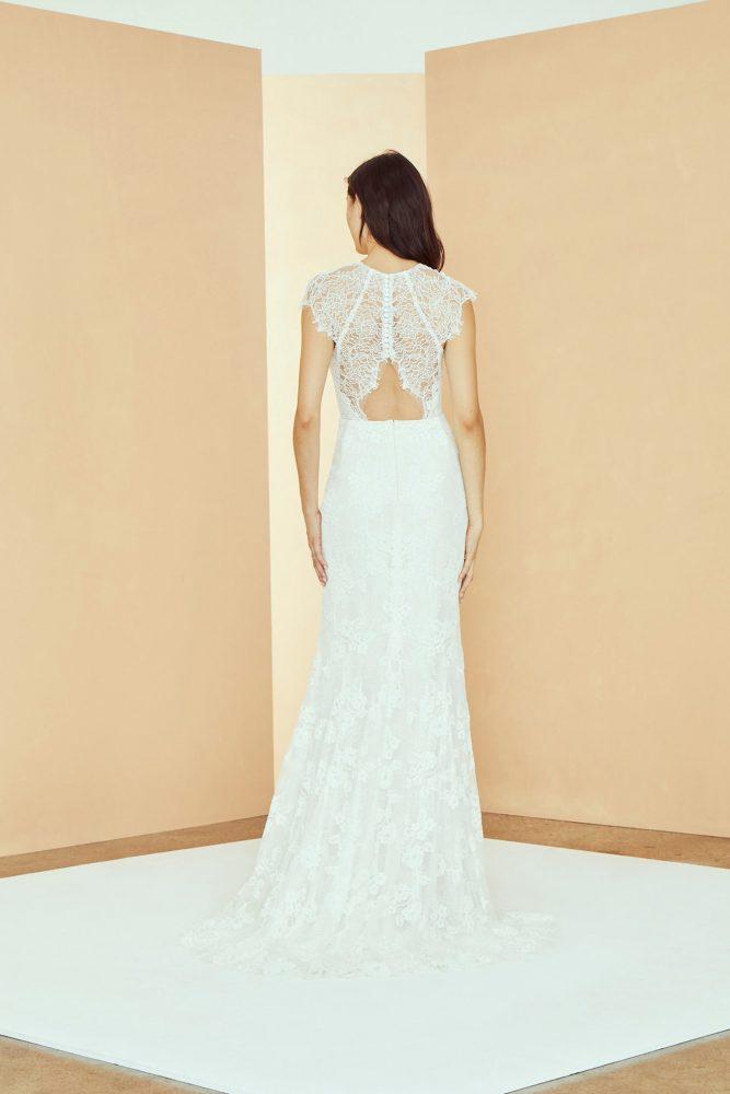High Neck Cap Sleeve Lace Sheath Wedding Dress by Nouvelle Amsale - Image 2