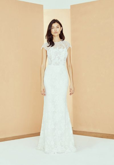 High Neck Cap Sleeve Lace Sheath Wedding Dress by Nouvelle Amsale
