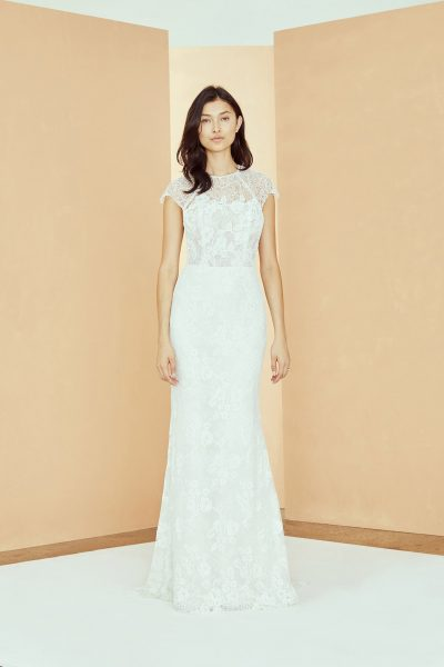 High Neck Cap Sleeve Lace Sheath Wedding Dress by Nouvelle Amsale - Image 1