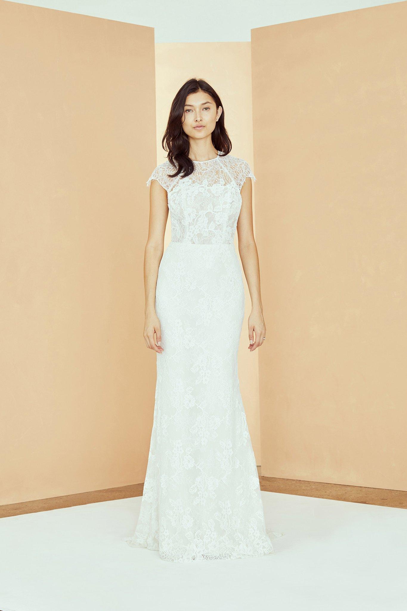 High Neck Cap Sleeve Lace Sheath Wedding Dress Kleinfeld Bridal