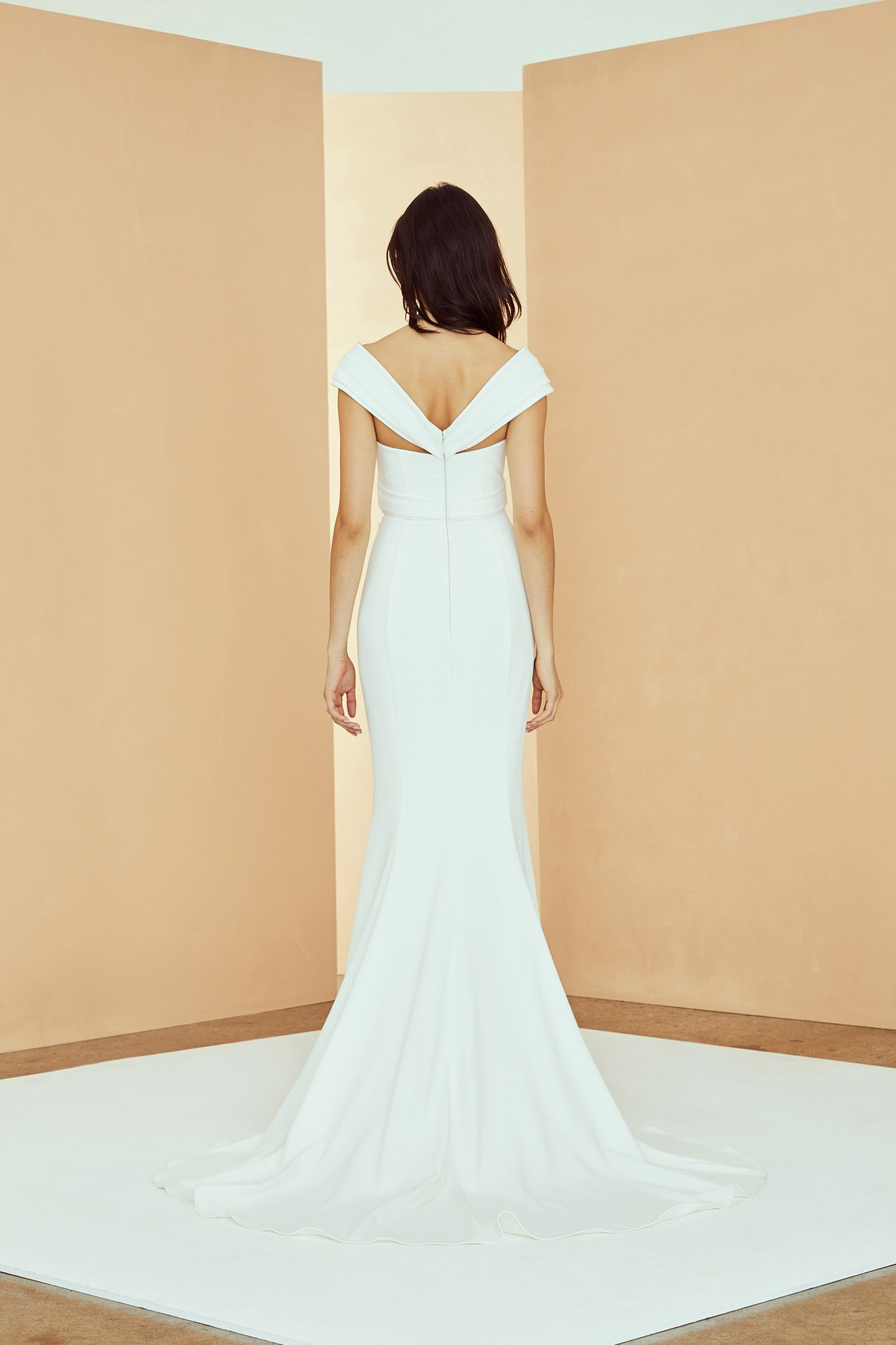 Off The Shoulder Criss Cross Fit And Flare Wedding Dress