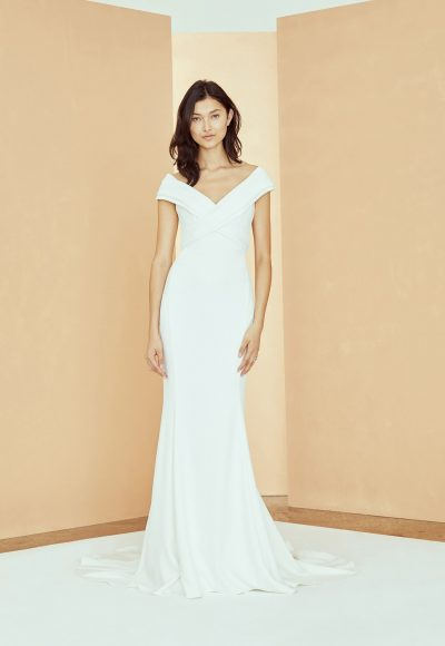 Off The Shoulder Criss Cross Fit And Flare Wedding Dress by Nouvelle Amsale