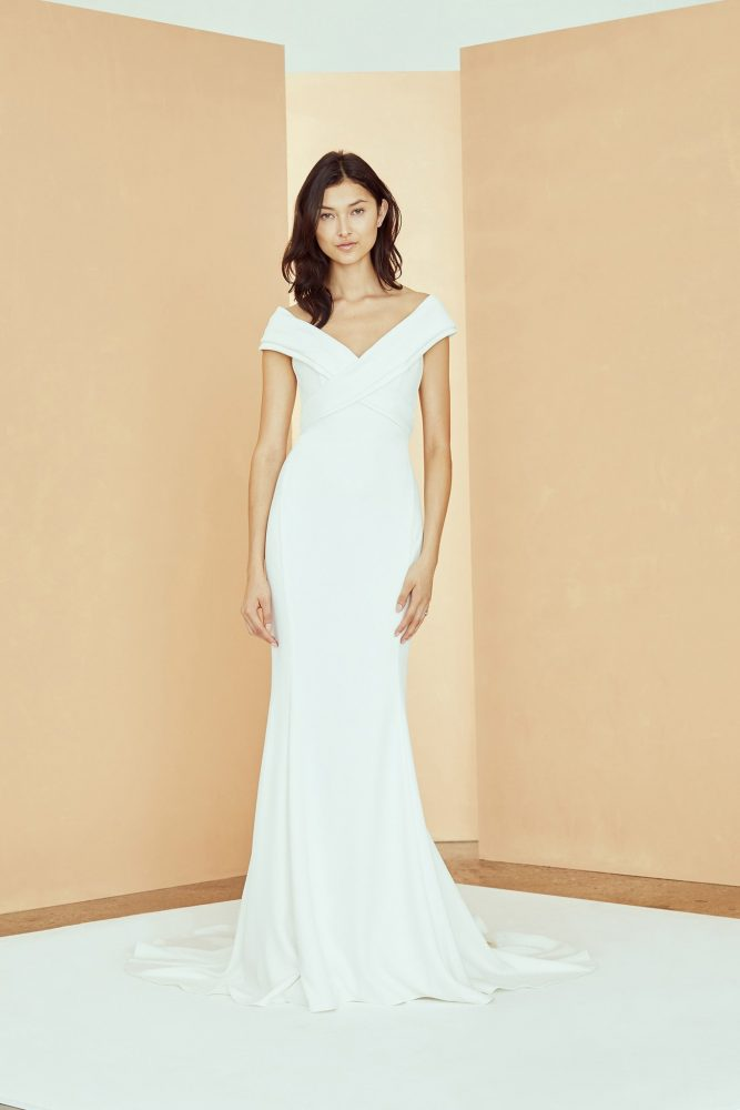 Off The Shoulder Criss Cross Fit And Flare Wedding Dress by Nouvelle Amsale - Image 1