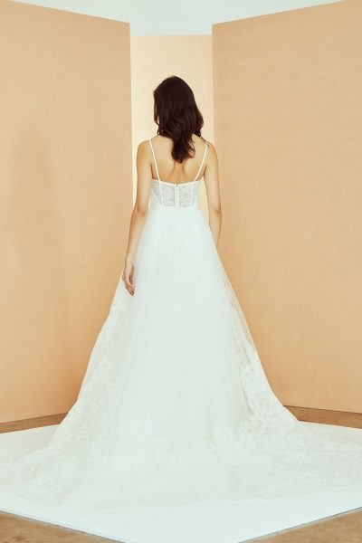 Spaghetti Strap Sweetheart Neckline Ballgown Wedding Dress With Simple Bodice And Lace Skirt by Nouvelle Amsale - Image 2