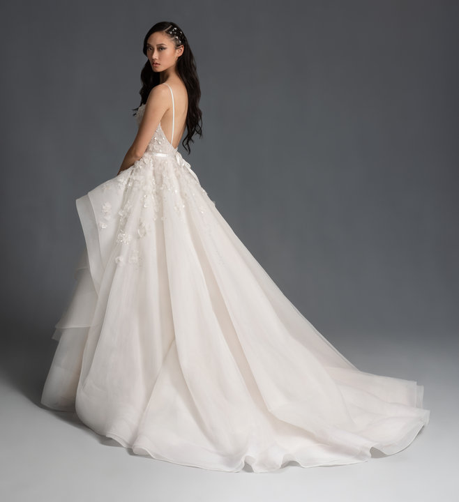 Sleeveless Floral Applique Tulle Ball Gown Wedding Dress by Hayley Paige - Image 2
