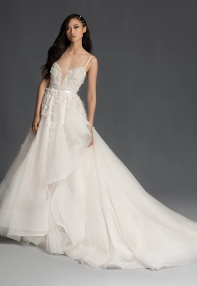Sleeveless Floral Applique Tulle Ball Gown Wedding Dress by BLUSH by Hayley Paige