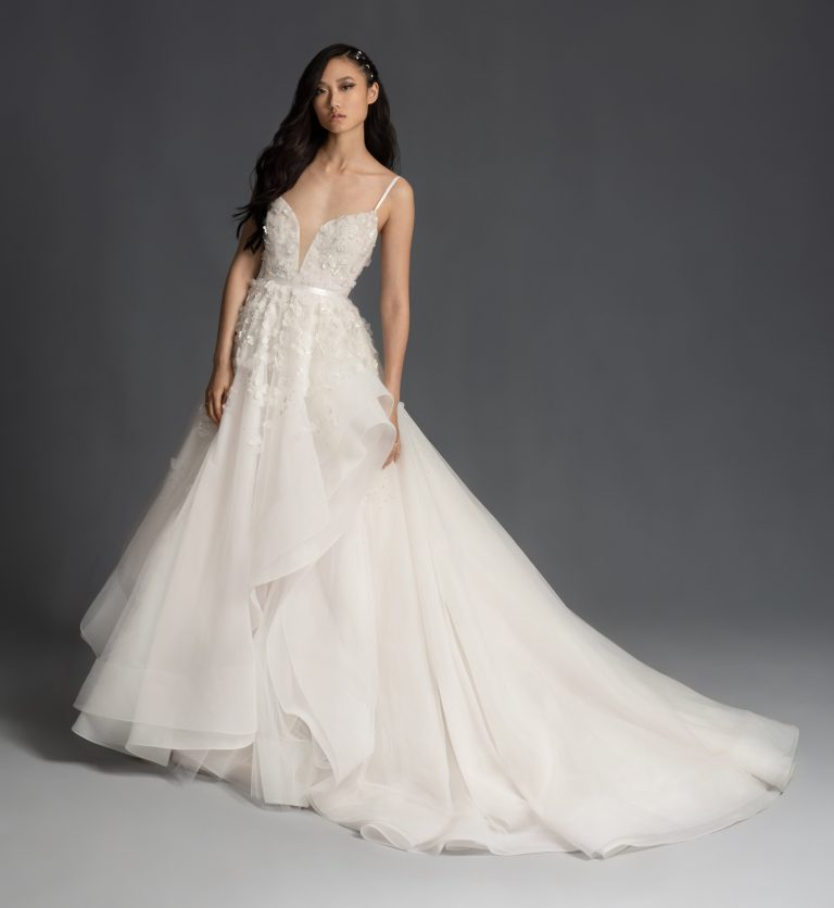 Sleeveless Floral Applique Tulle Ball Gown Wedding Dress by Hayley Paige - Image 1