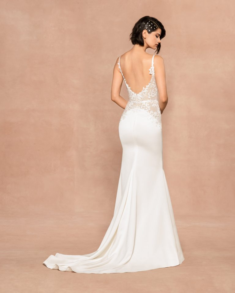 Spaghetti Strap V-neckline Sheath Wedding Dress With Floral Embroidery by BLUSH by Hayley Paige - Image 2