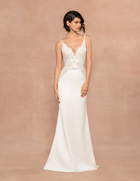 Spaghetti Strap V-neckline Sheath Wedding Dress With Floral Embroidery by BLUSH by Hayley Paige - Image 1