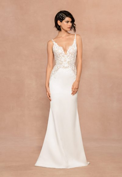Spaghetti Strap V-neckline Sheath Wedding Dress With Floral Embroidery by BLUSH by Hayley Paige