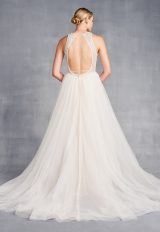 High Neck Sleeveless Beaded A-Line Wedding Dress by Danielle Caprese - Image 2