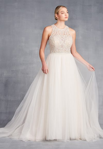 High Neck Sleeveless Beaded A-Line Wedding Dress by Danielle Caprese
