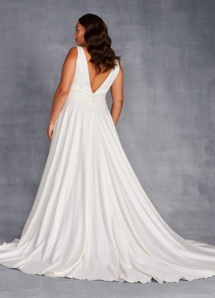 Sleeveless V-neckline A-line Wedding Dress With Beaded Belt by Danielle Caprese - Image 2