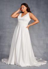 Sleeveless V-neckline A-line Wedding Dress With Beaded Belt by Danielle Caprese - Image 1