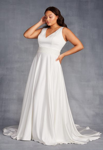 Sleeveless V-neckline A-line Wedding Dress With Beaded Belt by Danielle Caprese