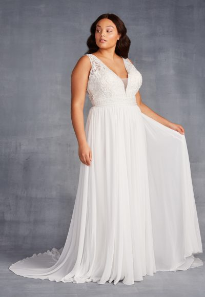Sleeveless V-neckline Beaded And Embroidered A-line Wedding Dress With Chiffon Skirt by Danielle Caprese