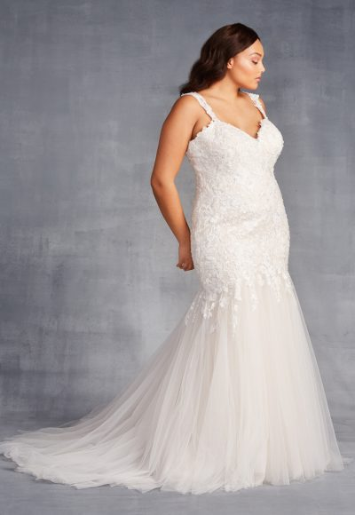 Sleeveless V-neckline Beaded And Embroidered Mermaid Wedding Dress by Danielle Caprese