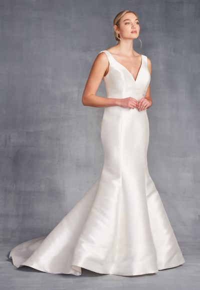 Sleeveless V-neckline Satin Fit And Flare Wedding Dress by Danielle Caprese