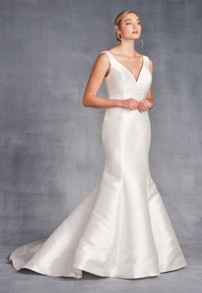 Sleeveless V-neckline Satin Fit And Flare Wedding Dress