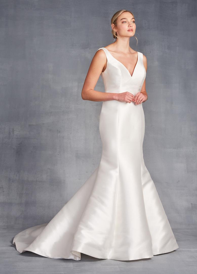 Sleeveless V-neckline Satin Fit And Flare Wedding Dress by Danielle Caprese - Image 1