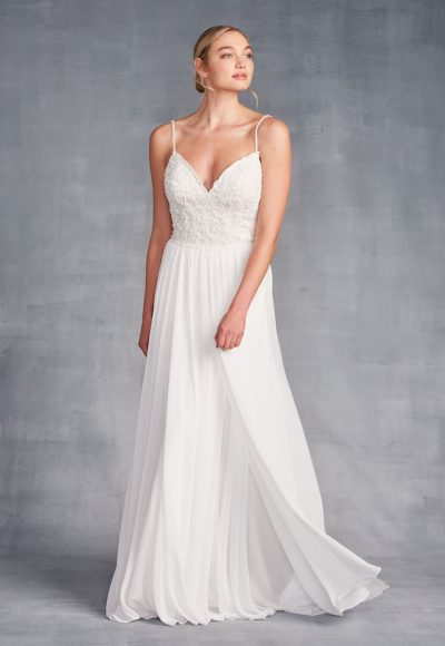 Spaghetti Strap Sweetheart Neckline Beaded Sheath Wedding Dress by Danielle Caprese