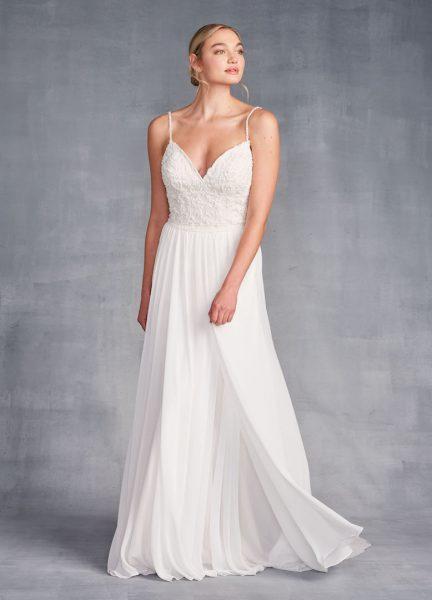 Spaghetti Strap Sweetheart Neckline Beaded Sheath Wedding Dress by Danielle Caprese - Image 1