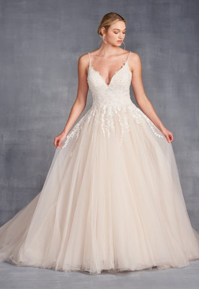 Spaghetti Strap V-neckline A-line Wedding Dress With Beading And Tulle Skirt by Danielle Caprese