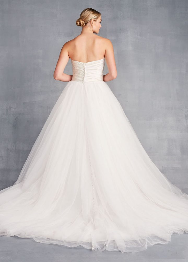 Strapless Ballgown Wedding Dress With Ruched Bodice And Tulle Skirt - Image 2