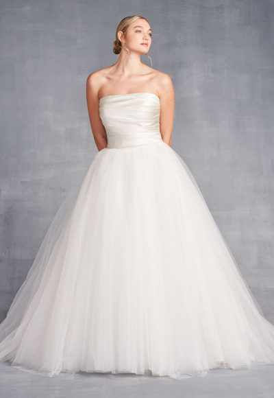 Strapless Ballgown Wedding Dress With Ruched Bodice And Tulle Skirt by Danielle Caprese