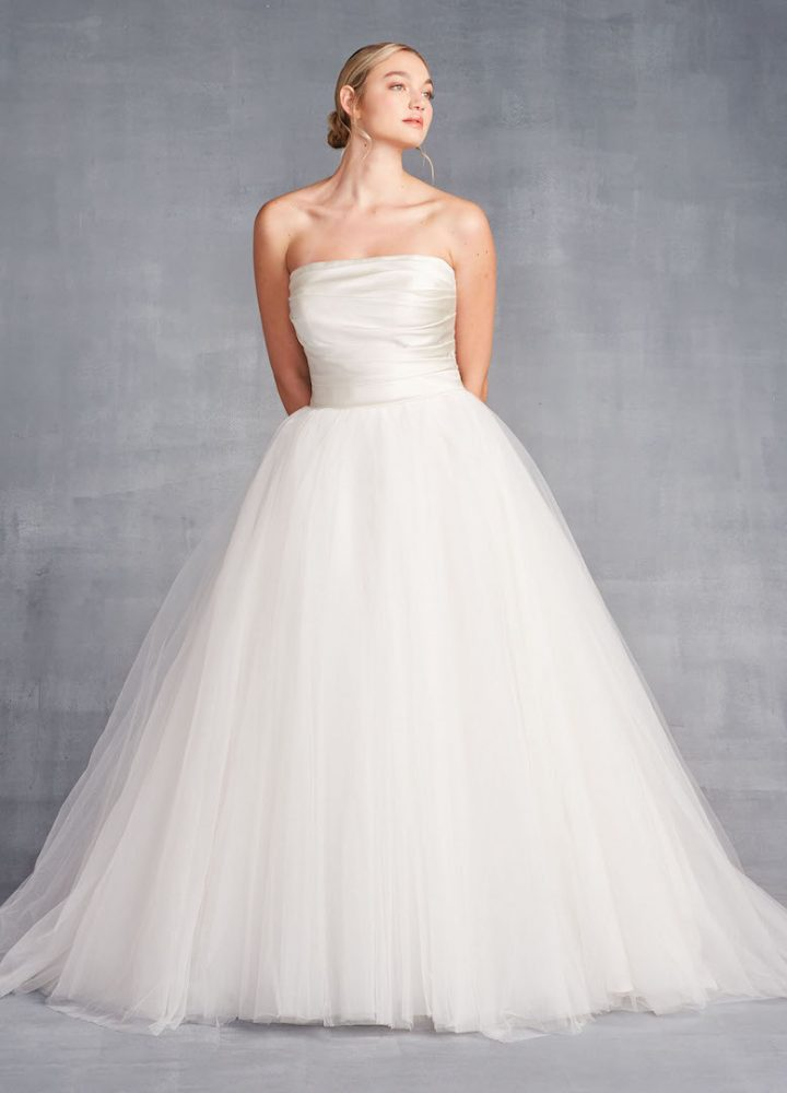 Strapless Ballgown Wedding Dress With Ruched Bodice And Tulle Skirt - Image 1