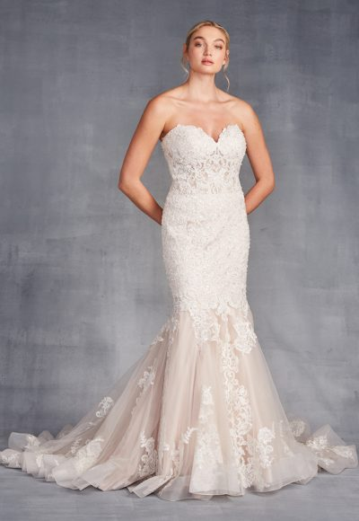 Strapless Sweetheart Neckline Beaded And Embroidered Mermaid Wedding Dress by Danielle Caprese
