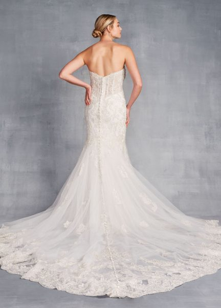 Strapless Sweetheart Neckline Beaded And Embroidered Sheath Wedding Dress by Danielle Caprese - Image 2