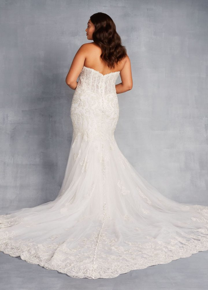 Strapless Sweetheart Neckline Beaded And Embroidered Sheath Wedding Dress - Image 2