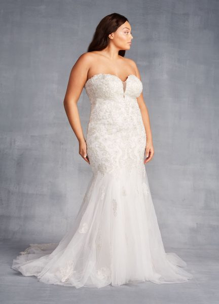 Strapless Sweetheart Neckline Beaded And Embroidered Sheath Wedding Dress by Danielle Caprese - Image 1
