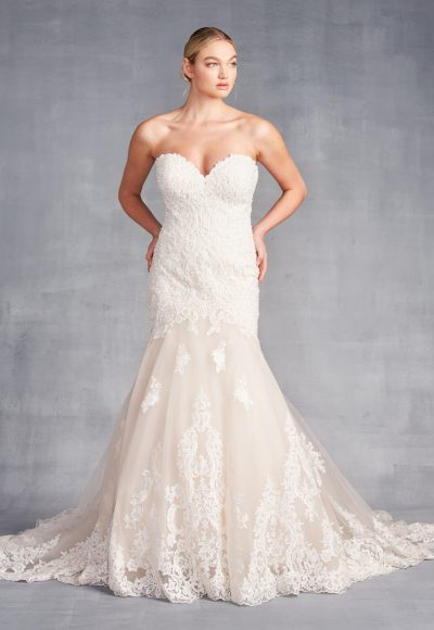 Strapless Sweetheart Neckline Beaded Lace Fit And Flare Wedding Dress by Danielle Caprese