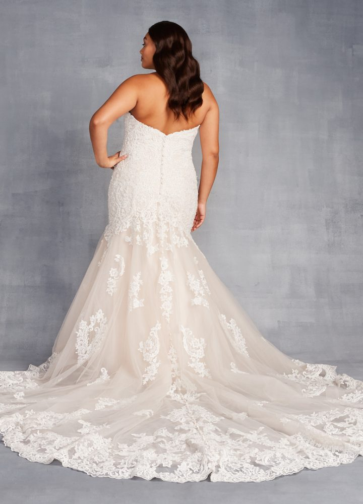 Strapless Sweetheart Neckline Beaded Lace Fit And Flare Wedding Dress - Image 2