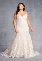 Strapless Sweetheart Neckline Beaded Lace Fit And Flare Wedding Dress by Danielle Caprese - Image 1