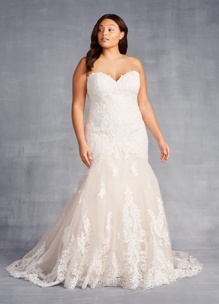 Strapless Sweetheart Neckline Beaded Lace Fit And Flare Wedding Dress - Image 1