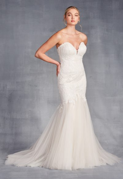 Strapless Sweetheart Neckline Beaded Mermaid Wedding Dress by Danielle Caprese