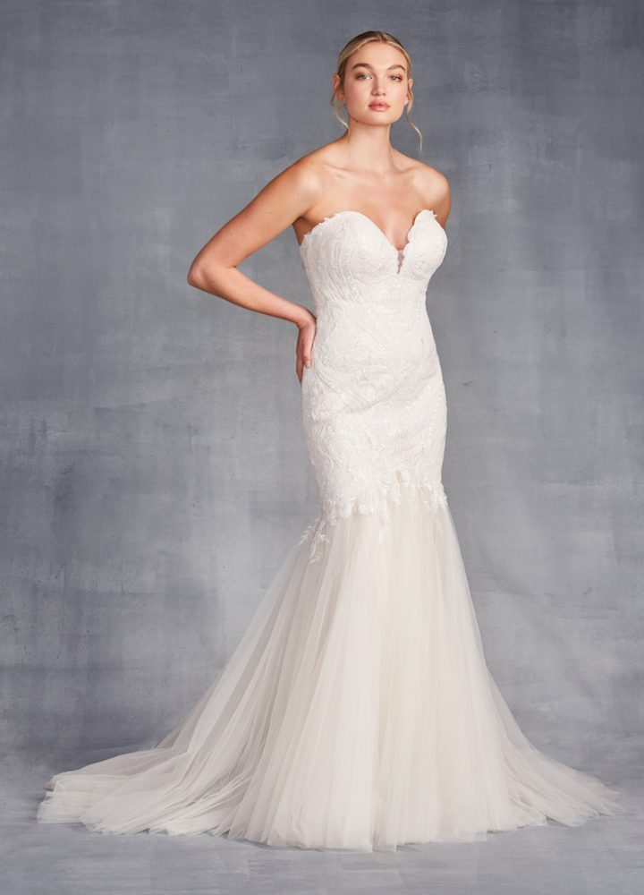Strapless Sweetheart Neckline Beaded Mermaid Wedding Dress by Danielle Caprese - Image 1