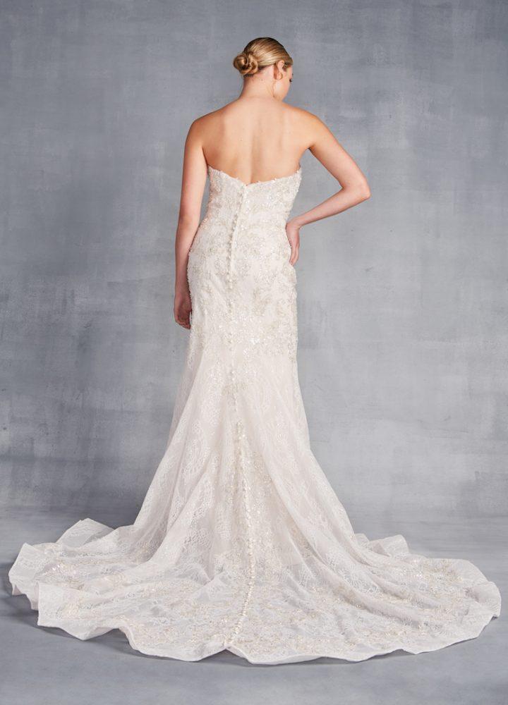 Strapless Sweetheart Neckline Beaded Sheath Wedding Dress - Image 2