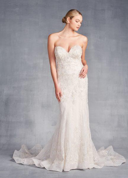 Strapless Sweetheart Neckline Beaded Sheath Wedding Dress by Danielle Caprese - Image 1