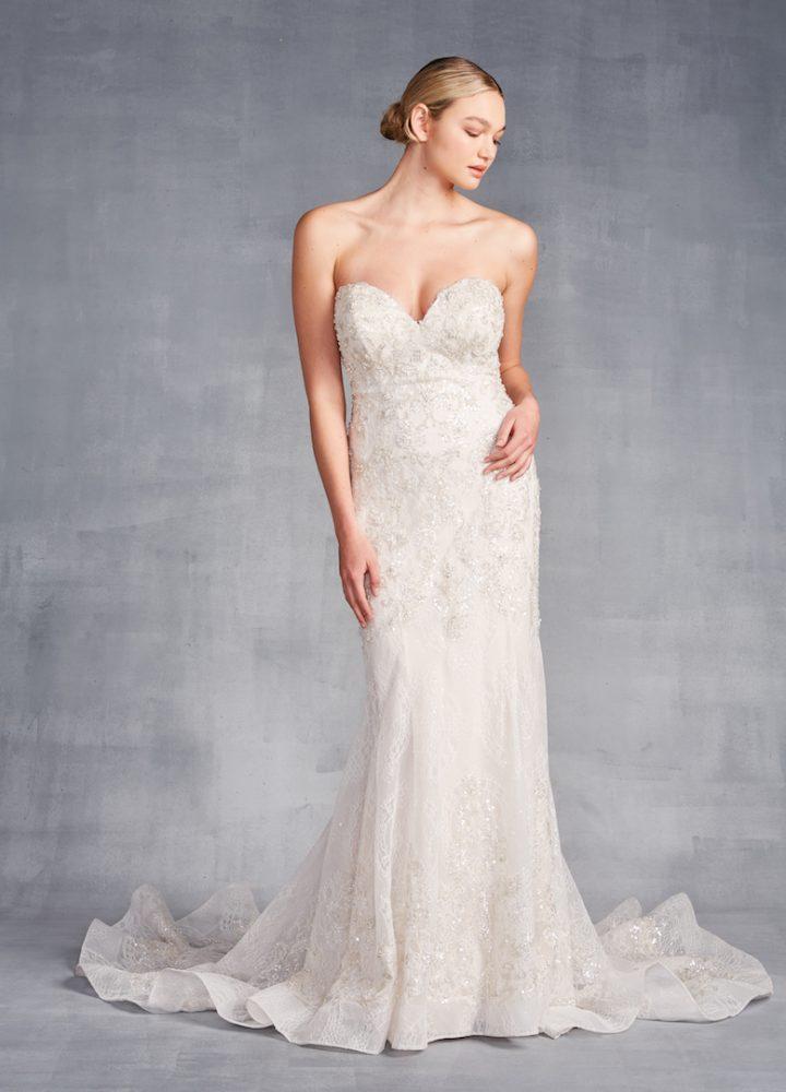 Strapless Sweetheart Neckline Beaded Sheath Wedding Dress - Image 1