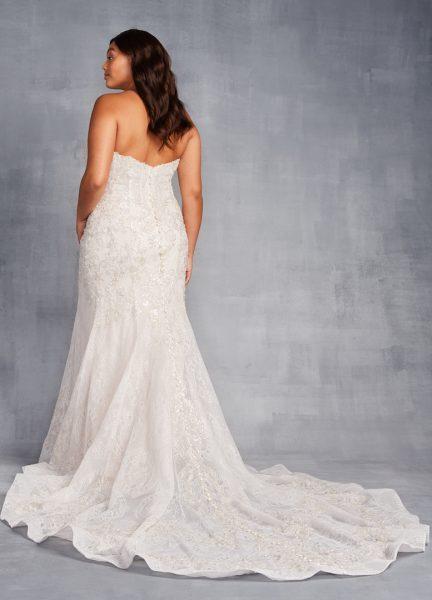 Strapless Sweetheart Neckline Beaded Sheath Wedding Dress by Danielle Caprese - Image 2