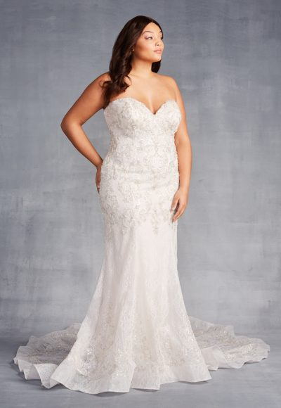 Strapless Sweetheart Neckline Beaded Sheath Wedding Dress by Danielle Caprese