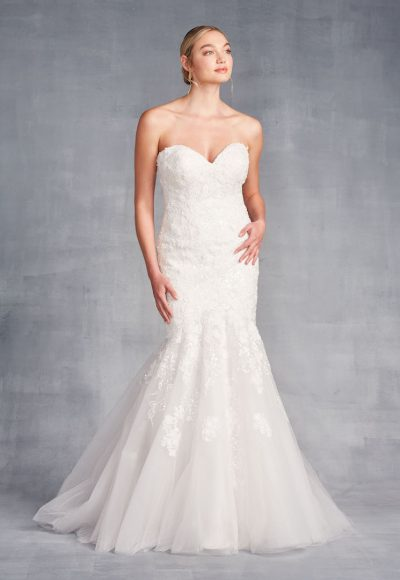 Strapless Sweetheart Neckline Mermaid Wedding Dress With Beading And Embroidery by Danielle Caprese