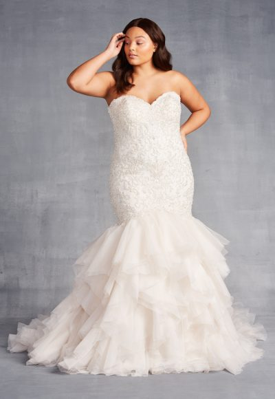 Strapless Sweetheart Neckline Mermaid Wedding Dress With Ruffle Skirt by Danielle Caprese