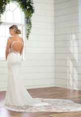 Cap Sleeve Crepe Sheath Wedding Dress by Essense of Australia - Image 2